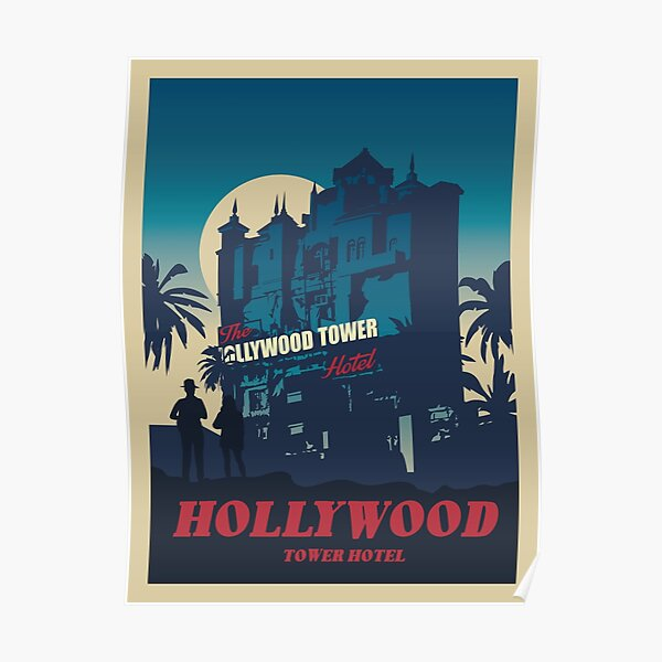 Hollywood Tower Hotel - Minimalist Travel Style - Theme Park Art Poster