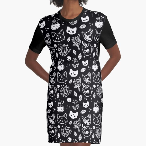 Herb Witch // Black & White | Nikury Graphic T-Shirt Dress