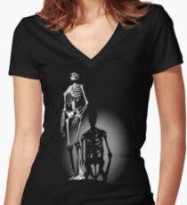 human anatomy t-shirt, human skeleton Women's Fitted V-Neck T-Shirt