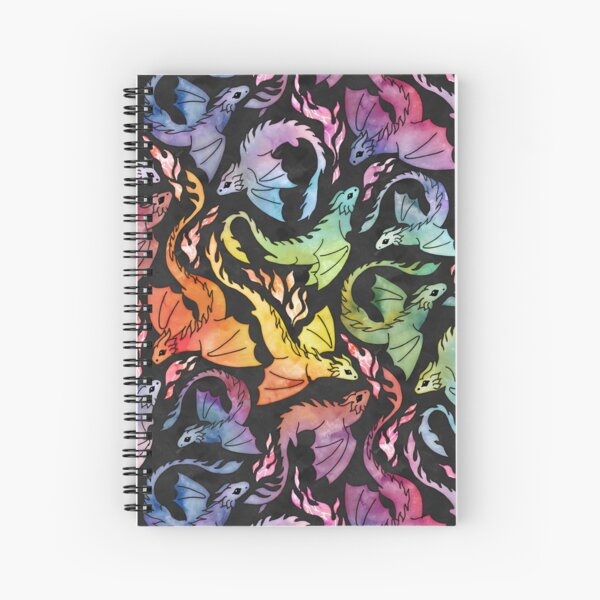 Dragon fire dark rainbow Spiral Notebook