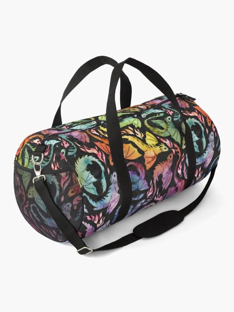 Alternate view of Dragon fire dark rainbow Duffle Bag