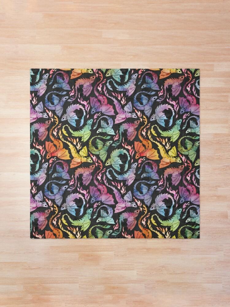 Alternate view of Dragon fire dark rainbow Comforter