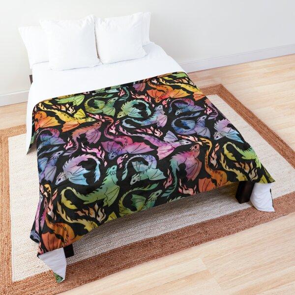 Dragon fire dark rainbow Comforter