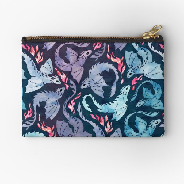 Dragon fire dark turquoise and purple Zipper Pouch