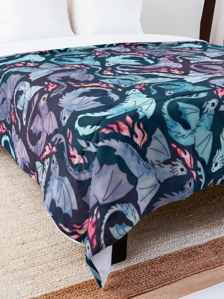 Alternate view of Dragon fire dark turquoise and purple Comforter
