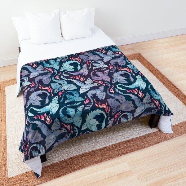 Dragon fire dark turquoise and purple Comforter