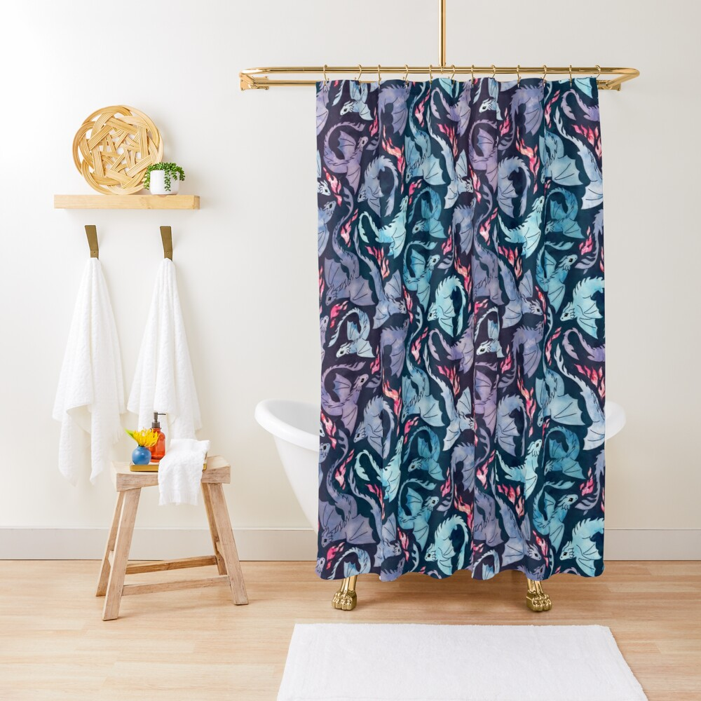Dragon fire dark turquoise and purple Shower Curtain