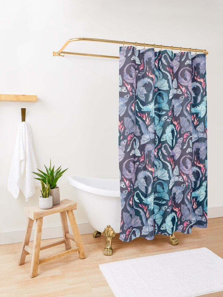Alternate view of Dragon fire dark turquoise and purple Shower Curtain
