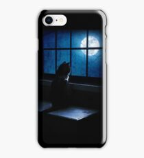Black Minnaloushe watches the Moon iPhone Case/Skin
