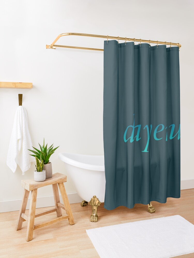 Alternate view of dayenu [blue to teal ombré] Shower Curtain
