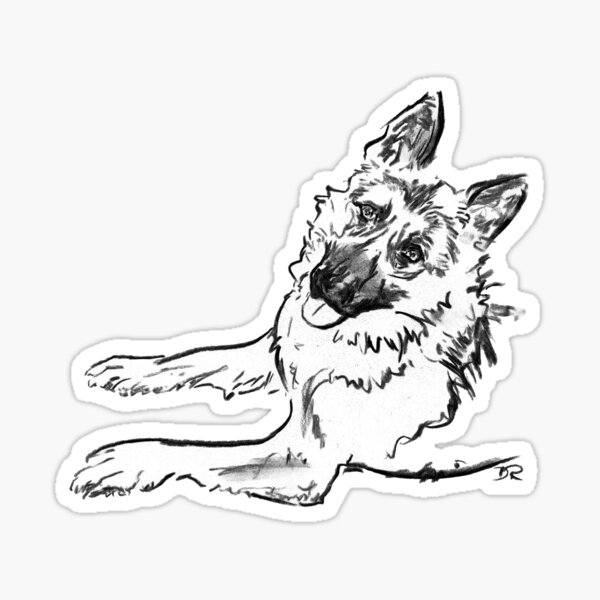 German Shepherd Drawing Sticker
