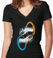 Drawing portals Women's Fitted V-Neck T-Shirt