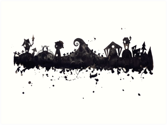 halloween town nightmare before christmas inspired watercolor skyline by tachadesigns - Halloweentown Nightmare Before Christmas