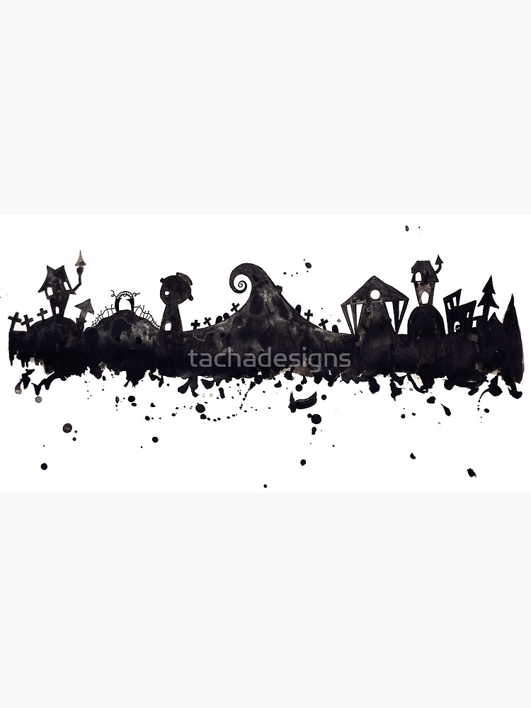Halloween Town Nightmare Before Christmas Inspired Watercolor Skyline by tachadesigns