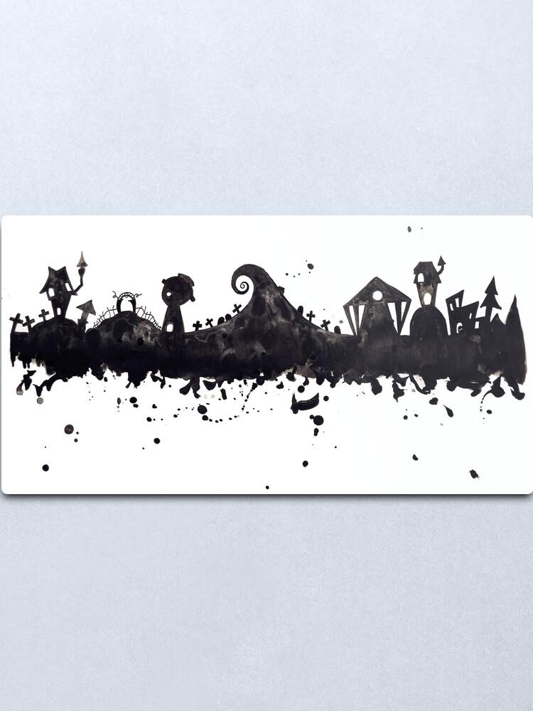 Alternate view of Halloween Town Nightmare Before Christmas Inspired Watercolor Skyline Metal Print