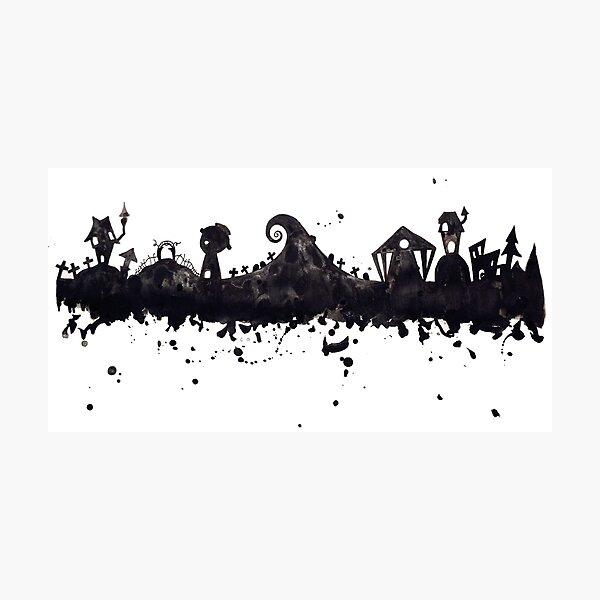 Halloween Town Nightmare Before Christmas Inspired Watercolor Skyline Photographic Print
