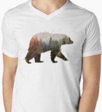 Bär T-Shirt mit V-Ausschnitt