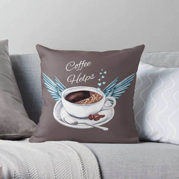 Life Happens, Coffee Helps - Coffee Angel Throw Pillow