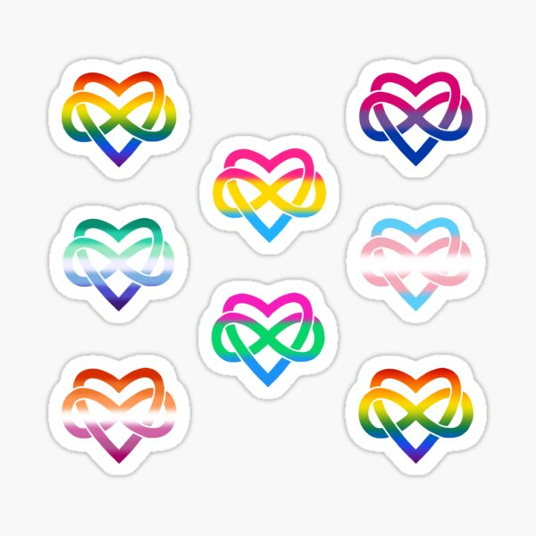 8x Polyamory Infinity Heart Set #1 Sticker