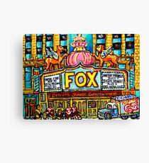 FOX THEATRE IN DETROIT WITH STREET HOCKEY Canvas Print