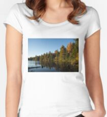 Fall Forest Lake - Reflection Tranquility Women's Fitted Scoop T-Shirt