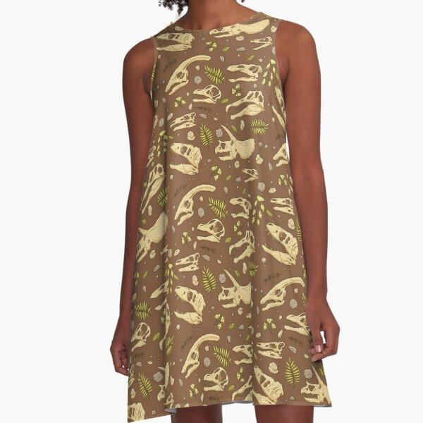 Dinosaur Skulls - Brown A-Line Dress