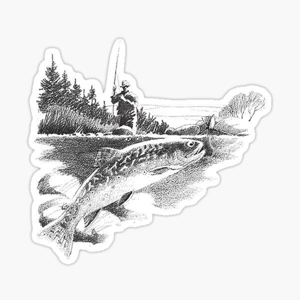 Trout fishing scene  Sticker