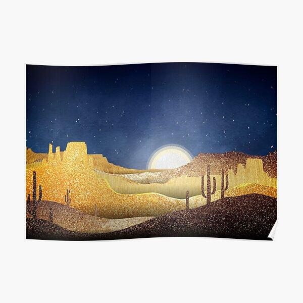Full Moon over the Desert at Night - Textured Landscape Poster