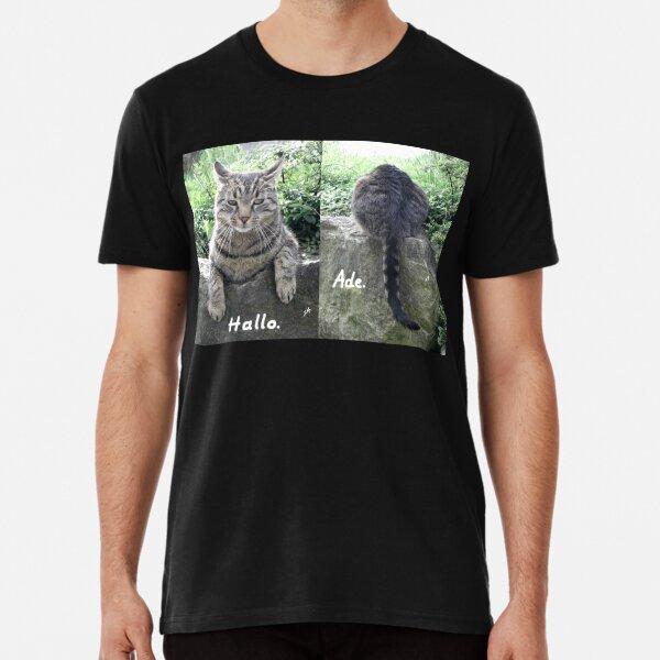 The cat says hello and goodbye. Photo. Premium T-Shirt