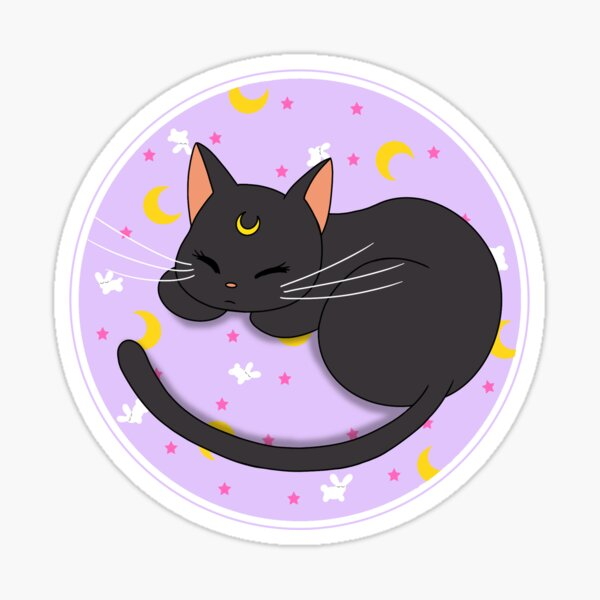 Luna Sleeping on Rabbit Sheets Sticker