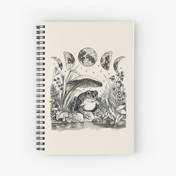 Cute Cottagecore Aesthetic Frog Mushroom Moon Witchy Vintage Spiral Notebook