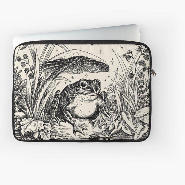 Cute Cottagecore Aesthetic Frog Mushroom Moon Witchy Vintage Laptop Sleeve
