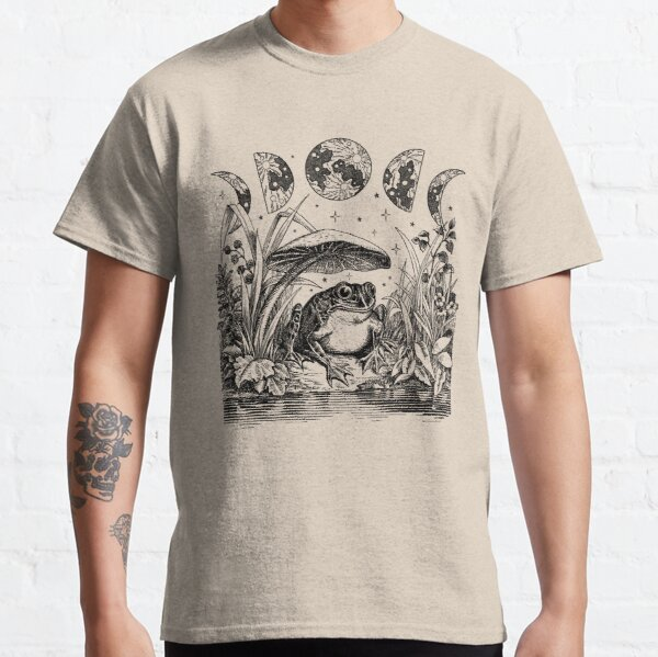 Cute Cottagecore Aesthetic Frog Mushroom Moon Witchy Vintage Classic T-Shirt