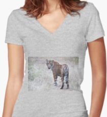 Young Male Tiger on The Prowl Women's Fitted V-Neck T-Shirt