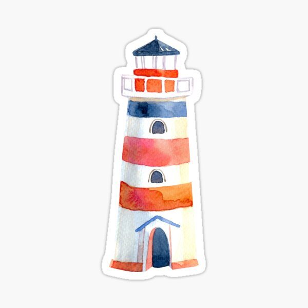 Lighthouse with red and blue Sticker