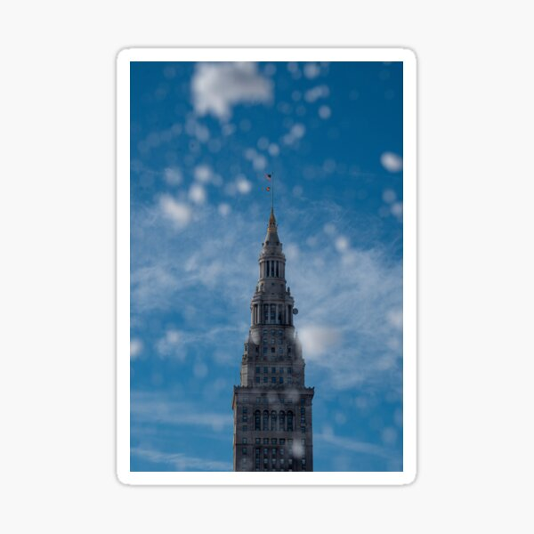Terminal Tower in the snow Sticker
