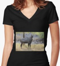 The Nilgai is the largest Asian antelope Women's Fitted V-Neck T-Shirt