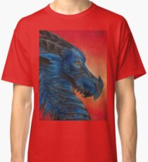 Blue asian dragon with red background and yellow eyes  Classic T-Shirt