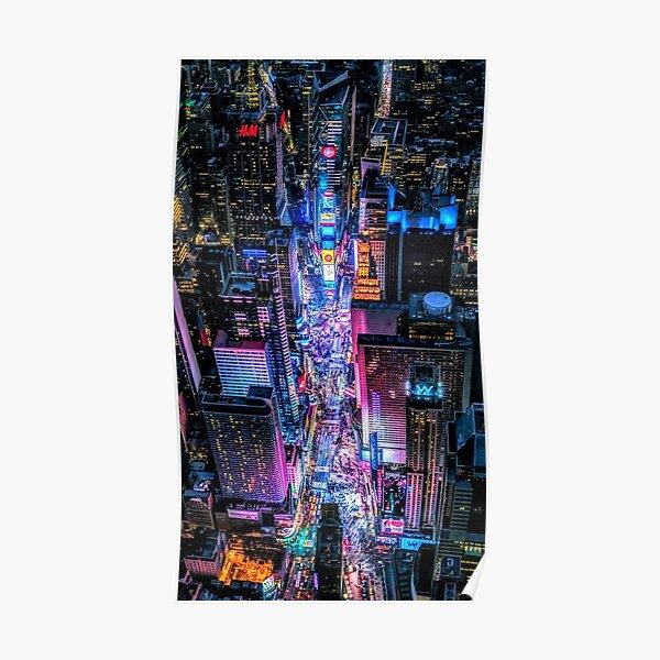 night street neon sky view Poster