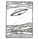 UFO with Whimsical Landscape and Night Sky by Fiona Lokot