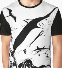 Black N White Marlin Scene Graphic T-Shirt