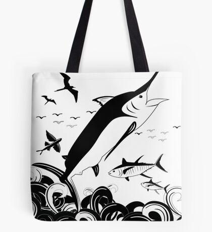 Black N White Marlin Scene Tote Bag
