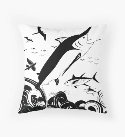 Black N White Marlin Scene Throw Pillow