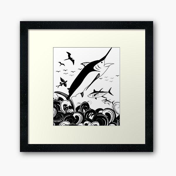 Black N White Marlin Scene Framed Art Print