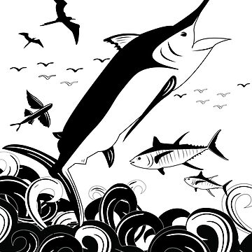 Black N White Marlin Scene by blackmarlinblog