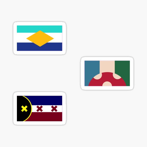 Showchester, L'manburg and Kinoko Kingdom flags from the DreamSMP Sticker