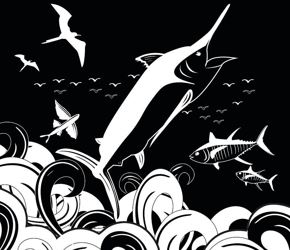 Marlin Scene Black N White (Black Version) by blackmarlinblog