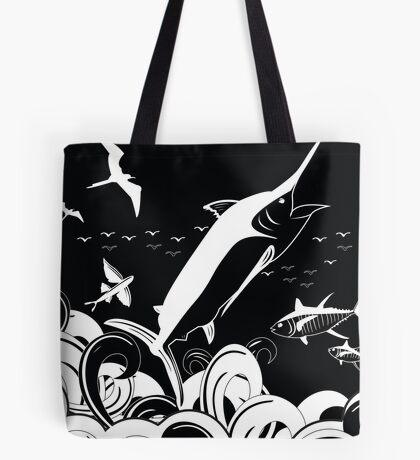 Marlin Scene Black N White (Black Version) Tote Bag
