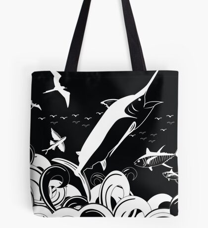 Marlin Scene Black N White (Black Version) Tote Bag