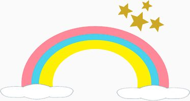 Pink, Yellow, Blue Rainbow With Gold Stars Cartoon Stickers & Magnet